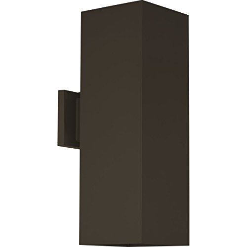 Progress Lighting P5644-20 6-Inch Up/Down Square with Heavy Duty Aluminum Construction and Die Cast Wall Bracket Powder Coated Finish, Antique Bronze (Bronze Sconces 20 Antique)