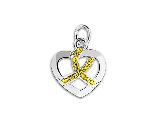 (Fundraising For A Cause Crystal Yellow Ribbon Heart Charm (Retail))