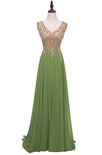 ed Formal Prom Dresses Long V-Neck Sequined Appliques Evening Party Gowns 2018 H270 4 Green (Sequined Applique V-neck Dress)