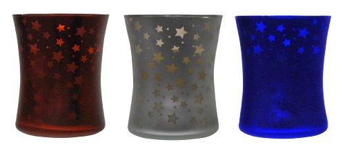 TIKI Brand Americana Hurricane Candle (1) - 9oz; Red, Blue or Silver