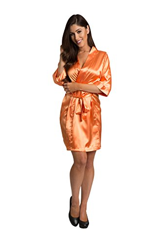 Zynotti Womens Tangerine Satin Blank Robe S/M 2-12 -