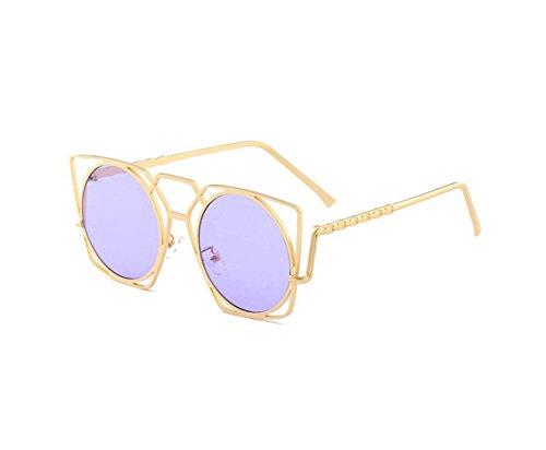Irregular cat eye sunglasses hollow metal frame sunglasses (Purple color, - Sunglasses Cat Wing