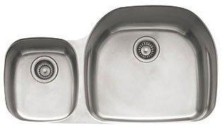 Franke PRX120LH Prestige Plus 36-Inch Offset to the Left Double Bowl Undermount Kitchen Sink