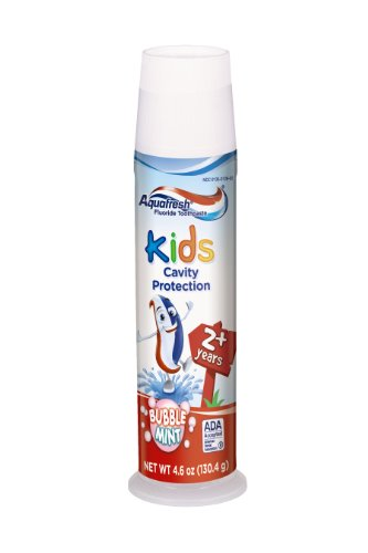 Aquafresh Kids Pump Cavity Protection Bubble Mint Fluoride Toothpaste for Cavity Protection, 4.6 ounce (Pack of 6) (Toothpaste In Babies)
