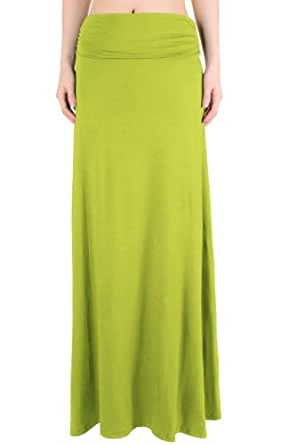 LeggingsQueen Women's High Waisted Fold Over Maxi Skirt (Avocado, Small)