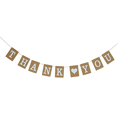 Tinksky Thank You Banner Kraft Paper Bunting Photo Booth Props Wedding Party Decoration Thanksgiving Flag Garland (Brom/White)