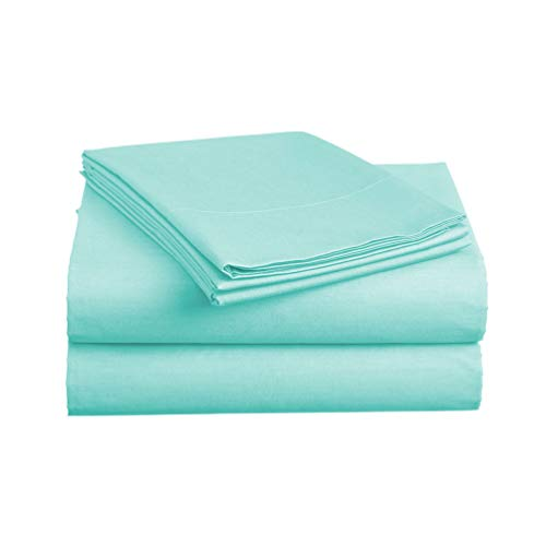 (Basic Choice Bed Sheet Set - Brushed Microfiber 2000 Bedding - Wrinkle, Fade, Stain Resistant - Hypoallergenic - 4 Piece (Full, Aqua)