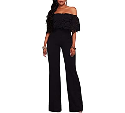 Vamvie Women's Sexy Off Shoulder Lace Ruffle Long Pants Wide Leg Jumpsuits Rompers