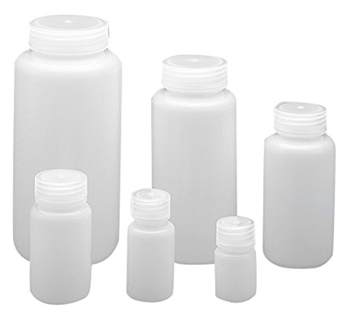 Qorpak 249627 Wide Mouth Lab Style Bottle with 63 mm PP Linerless Leak-Proof Cap, Integral Seal Ring Enclosed, HDPE, 1000 mL, Natural (Pack of 24) (Polyethylene Resin Density High)
