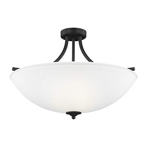(Sea Gull Lighting 7716504-839 Geary Large Four-Light Semi-Flush Convertible Pendant Hanging Modern Light Fixture, Blacksmith Finish)
