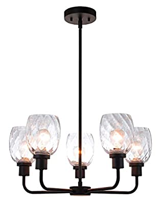 XiNBEi Lighting Chandelier 5 Light Modern Chandelier Light, Adjustable Pendant Lighting in Satin Brass with Clear Faceted Glass for Dining & Living Room XB-C1210-5-SB