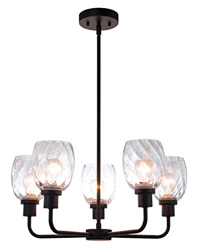 XiNBEi Lighting 5 Light Chandeliers, Pendant Chandelier Lights with Clear Glass, Matte Black Finish XB-C1210-5-MBK ()