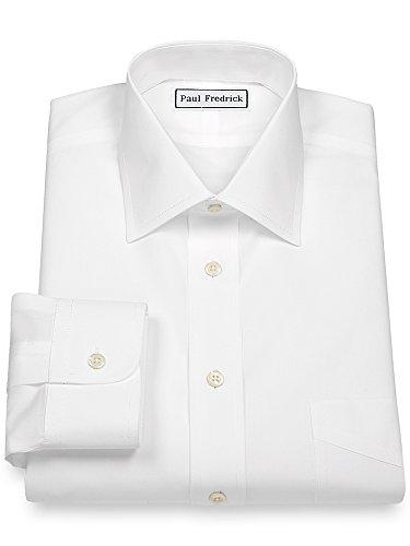 Paul Fredrick Men's Non-Iron 2-Ply Cotton Windsor Spread Collar Dress Shirt White 18.5/34 (Non Iron Shirt Two Ply Dress Cotton)