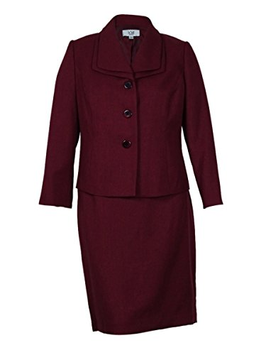 Le Suit Women's Double Layered Collar Suit Skirt Set (Bordeaux,16W)