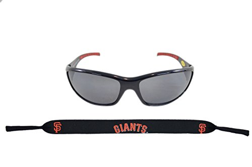 Official Major League Baseball Fan Shop Authentic Sunglasses and Neoprene MLB Team Strap. Enjoy tailgating and the Game in the Sun with cool specs (San Francisco - Goggles School Old Aviator