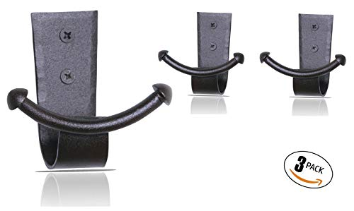 RTZEN Handcrafted Wrought Iron Double Hook | Set of 3 | Decorative Black Hangers for Hanging Coat, Hat, Jacket, Robe, Bath Towel | Wall Mount Mug Hooks | Fine Handcraft Anchor Hook | Enjoy Spacy Home (Iron Coat Black Wrought Stand)