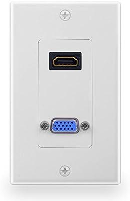 batige HDMI Componente VGA placa de pared para enchufe de audio y vídeo compuesto placa frontal cubierta: Amazon.es: Iluminación