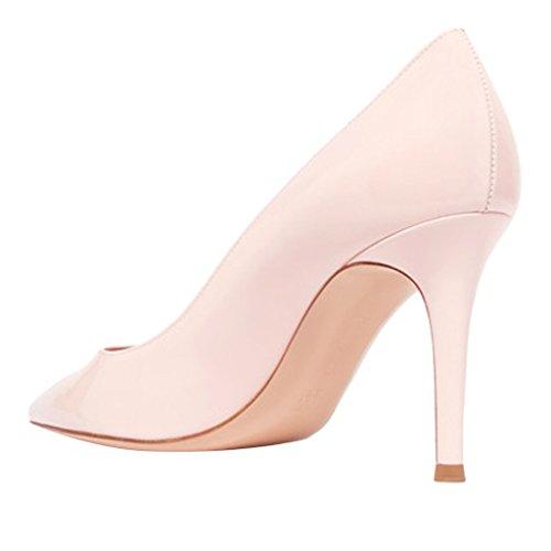 Comfity Womens Puntige Neus Stiletto Hoge Helels Prachtige Slip Op Jurk Party Pumps Maat 4-15 Us Pink-pu