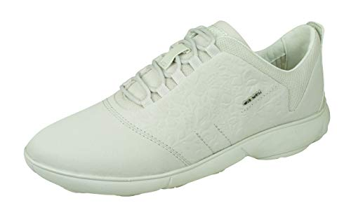 Geox D Nebula A Womens Lace Up Sneakers/Shoes-Off White-11