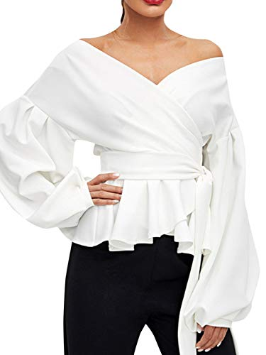Belted Cotton Puff Sleeve Blouse - Glamaker Women's Elegant Off Shoulder Tie Waist Wrap Blouse Long Puff Sleeve V Neck Ruffle Belted Shirt Tunic Tops White