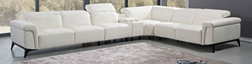 Albany Sectional - American Eagle Furniture EK-L095M-W Albany Collection Leather Upholstered Sectional Sofa, White