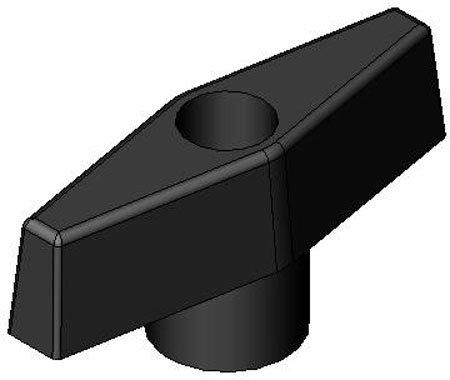 Aluminum and Plastic T-Handles Black Polypropylene Textured Finish-Thru Hole 3//8-16 thds. 1 Each 2 1//2 dia.