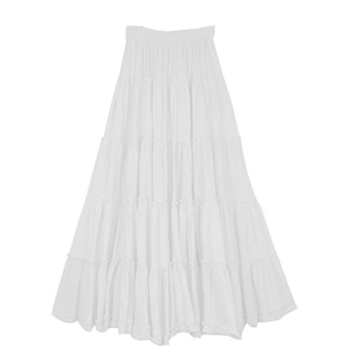 Tiered Peasant Skirt (CoutureBridal Womens Elastic Tiered Boho Long Circle Broomstick Peasant Skirt Dance White)