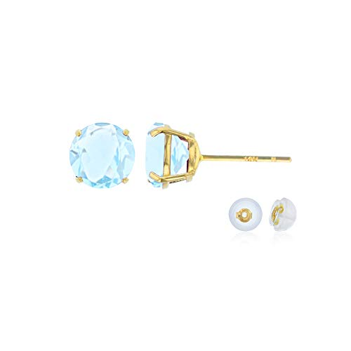 Genuine 14K Solid Yellow Gold 6mm Round Natural Aquamarine March Birthstone Stud Earrings ()