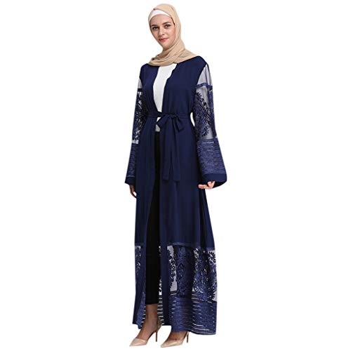 HYIRI Muslim Women's Summer Ouble-Layered Large-Scale Solid Color Fashion Robes Suit Blue]()