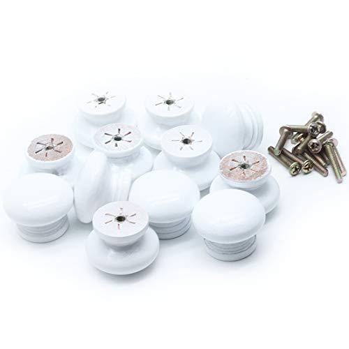 (Mecion 12Pcs White Round Mushroom Shape Wooden Cabinet Knobs Drawer Pulls 35mmx26mm)