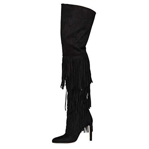 Stiefel FCXBQ Winter High Rutschfest Oberschenkelstiefel Seitlichem Stiletto Overknee Warm Reißverschluss Frauen Stiefel Heels Troddeln XRqSxwR6T