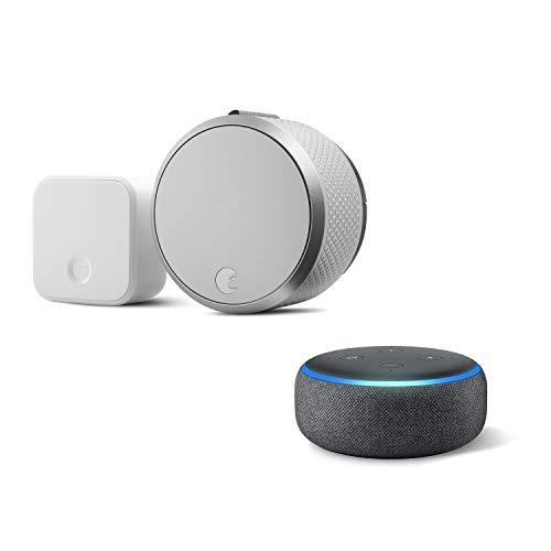August Smart Lock Pro + Connect Bridge in Silver. Works with Z-Wave, HomeKit & Alexa - Includes Echo Dot (3rd Gen in Charcoal)