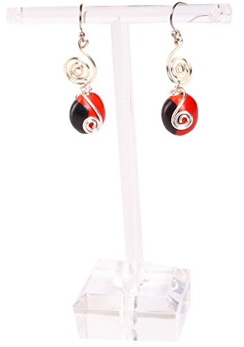 Peruvian Earrings for Women - Huayruro Red Black Seed Dangles - Natural Handmade Jewelry by Evelyn (Elegant Spiral Seed)