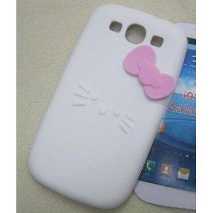 White Hello kitty Premium Soft Rubber Silicone Skin Case Cover for Samsung Galaxy S3 i9300 S III