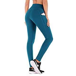 IUGA High Waist Yoga Pants with Pockets, Tummy Control, Workout Pants for Women 4 Way Stretch Yoga Leggings with Pockets (Peacock Blue 840, Small)