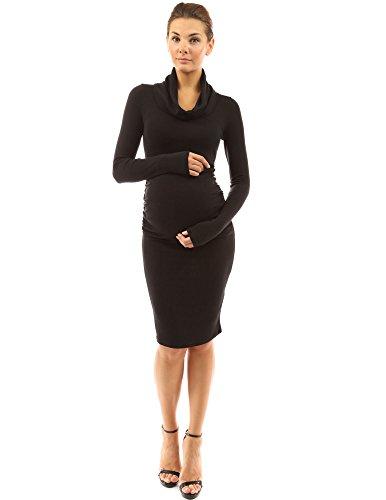 PattyBoutik Mama Cowl Neck Long Sleeve Maternity Dress