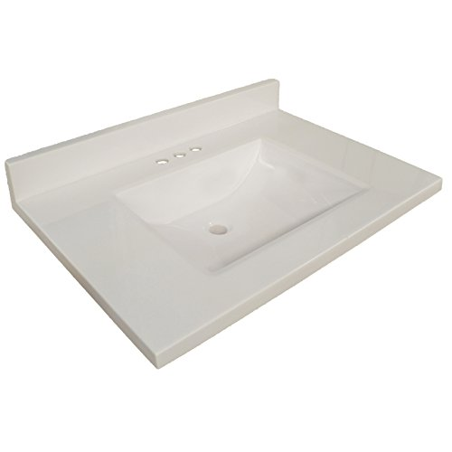 Design House 563445 Contempo Vanity Top with Back Splash 61x22, Solid White, 61