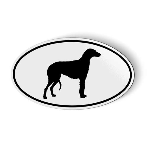 (Scottish Deerhound Oval - Magnet for Car Fridge Locker - 3