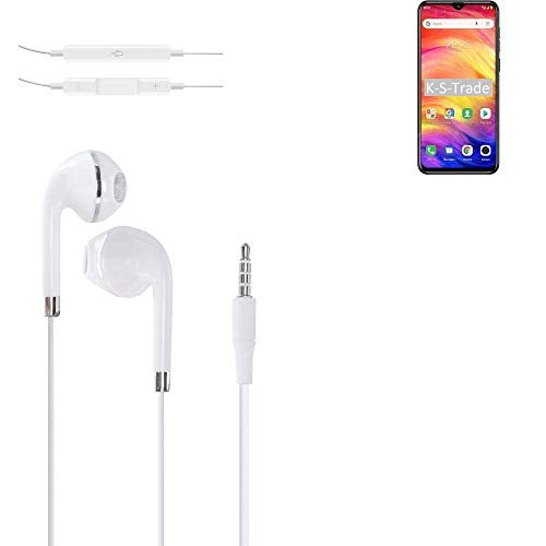 K-S-Trade Kopfhörer Kompatibel Mit Ulefone Note 7 Mit Mikrofon U Lautstärkeregler Weiß 3,5mm Klinke Kabel Headphones…