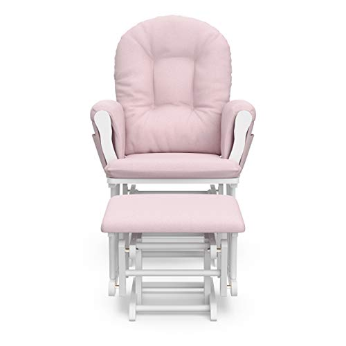 31rlYcHEOUL - Storkcraft Premium Hoop Glider And Ottoman (White Base, Pink Swirl Cushion) – Padded Cushions With Storage Pocket, Smooth Rocking Motion, Easy To Assemble, Solid Hardwood Base