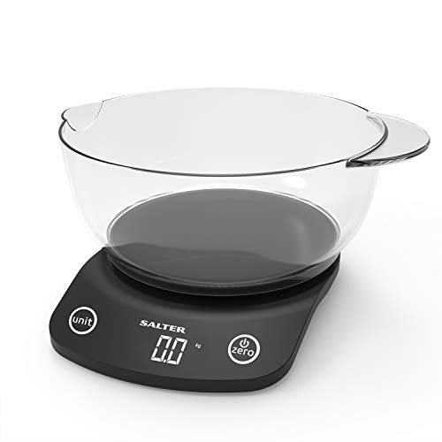 (Salter Digital Kitchen Scales - 1.8 Litre Pour Mixing Bowl Jug, Perfect for Cooking, Baking, Electronic Food/Liquid Weighing, Easy Read Display, Metric/Imperial, 15 Year Guarantee - Black)