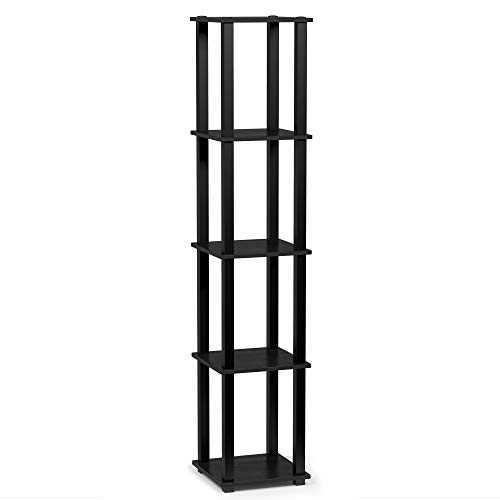 FURINNO Turn-S-Tube 5-Tier Corner Square Rack Display Shelf, Americano/Black (Bookshelf Wide 20)