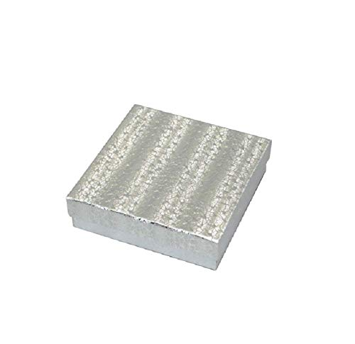 (20 Pack Cotton Filled Silver Textured Box Jewelry Gift and Retail Boxes 3 X 3 X 1 Inch Size by R J Displays)
