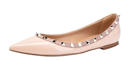 Jiu du Women's Rivets Studded Flats Shoe Slip On Pointed Toe Wedding Dress Shoes Nude Patent Pu