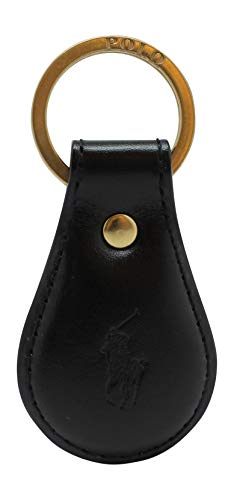 Polo Keychain Key Ring Fob Black Embossed Leather by Ralph Lauren (Ralph Lauren Wimbledon)