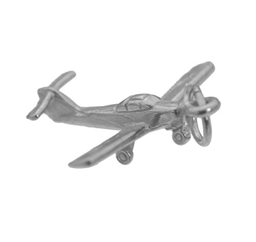 prince of diamonds 3D SOLID STERLING SILVER 925 flight trainer plane Beginner Pilot Airplane Charm