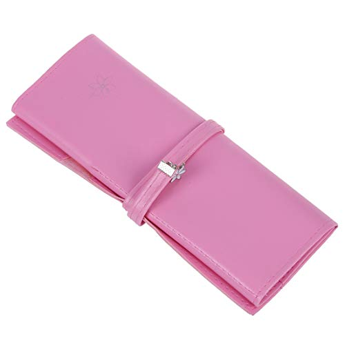 Pink Faux Leather Cosmetic Pencil Pen Brush Holder Bag for Ladies E9B3
