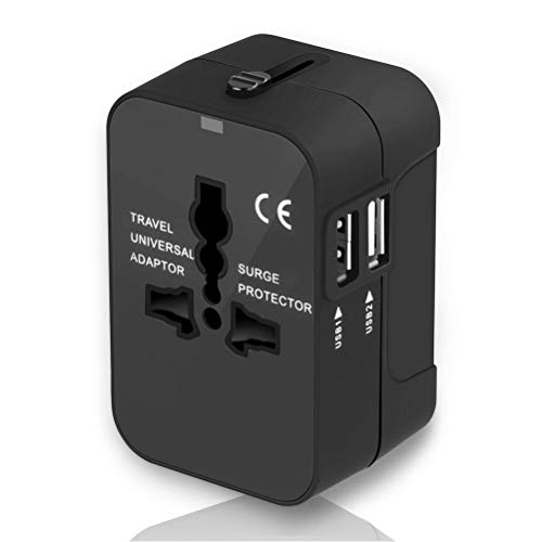 Cos2be Universal Travel Power Adapter and Converter with 2.4A Dual USB Charger for UK EU US AUS All in One AC Wall Plug Charger (2 USB Black)