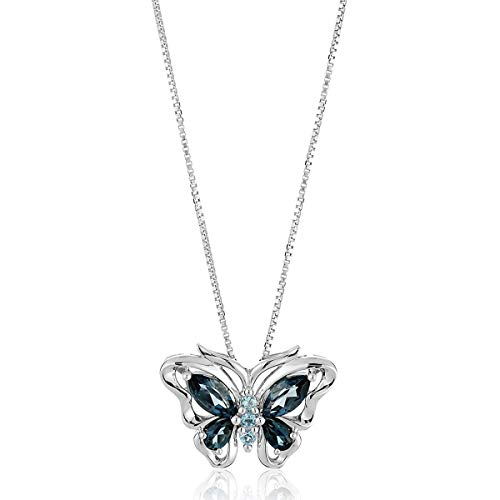 (Natural Swiss & London Blue Topaz Butterfly Pendant Necklace in Sterling Silver)