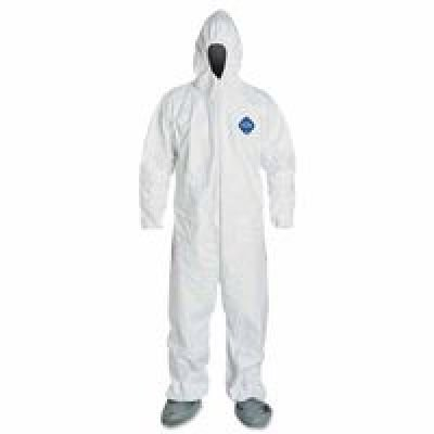 DuPont Tyvek 400 TY122S  Protective Coverall  with Hood and Boots, Disposable, Elastic Wrists, 6X-Large, White (Pack of 25)